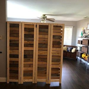 Handmade Primitive Room Divider Movable Wall Screen Made From Antique Looking Wood 5 10 Tall With Four Panels Beautiful In 2020 Movable Walls Room Divider Rustic Doors