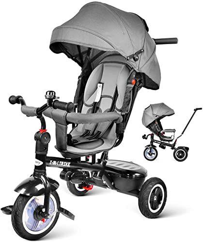 Liegefunktion ab 9 Monate bis 6 Jahre Regenschutz Grau Luftkammerrad besrey Dreirad 7-in-1 Kinder Fahrrad mit 360/° Drehsitz