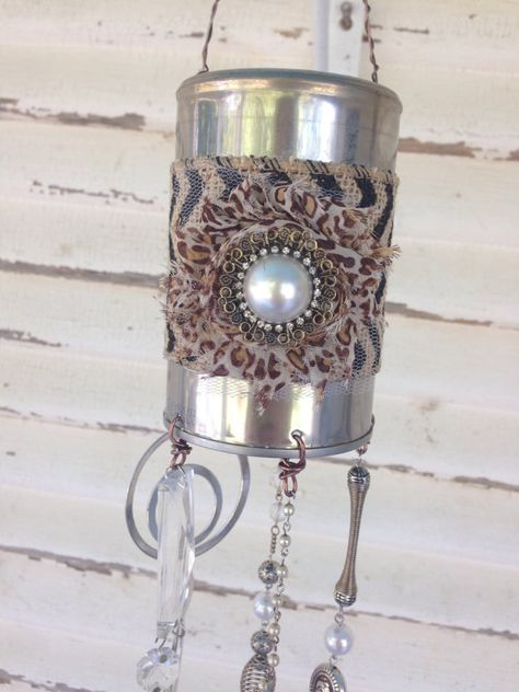 Tin can upcycle repurposed garden art shabby by RiverRatCrafts