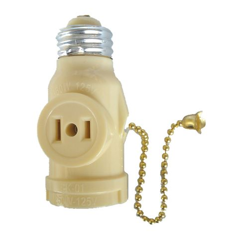 Project Source 660 Watt Ivory Medium Light Socket Adapter With