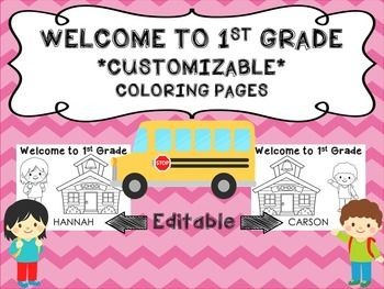 Welcome To 1st Grade Name Sheets L Back To School Grade 1 1st