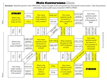 Mole Conversions Maze For Review Or Assessment Mole Conversion Maze Worksheet Mole Fun with moles worksheet answers
