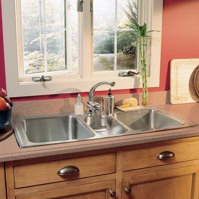 Premiere Gourmet 41 L X 22 W Top Mount Triple Bowl Kitchen Sink Drop In Kitchen Sink Single Bowl Kitchen Sink Kitchen Sink