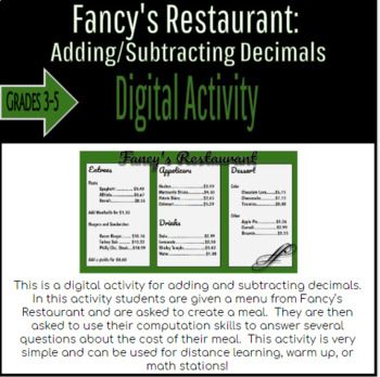 Fancy S Restaurant Adding And Subtracting Decimals In 2020 Subtracting Decimals Subtracting Decimals Worksheet Adding And Subtracting Subtracting decimals horizontal worksheet
