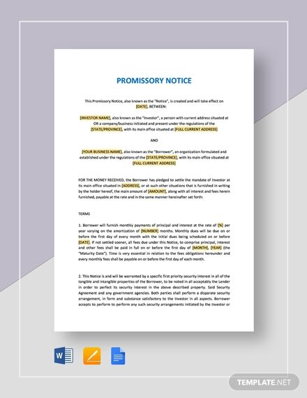 General Promissory Note Doctors Note Template Notes Template