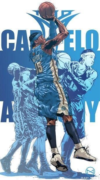 på fötter bilder av olika stilar i lager Carmelo Anthony Career Montage Illustration | Nba basketball art ...