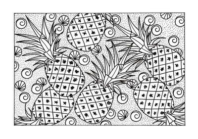 Abundance Of Pineapples Adult Coloring Page Free Adult Coloring