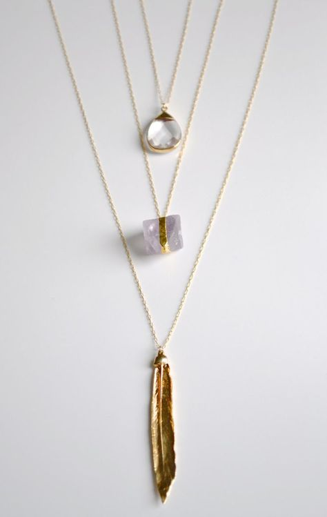 Love the look of the layering, however no longer available . Layered Necklace Gold Layered Necklace Organic by SummerBucket