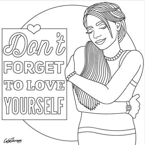 Dont Forget To Love Yourself To Color With Color Therapy Http Www Apple Co Colortherapyapp Coloring Valentine Coloring Pages Color Therapy Coloring Books