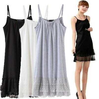 Women Cotton Full Slip Cami Under Dress Long Vest Lace Trim Petticoat Underskirt Slip Dress Under Dress Dresses