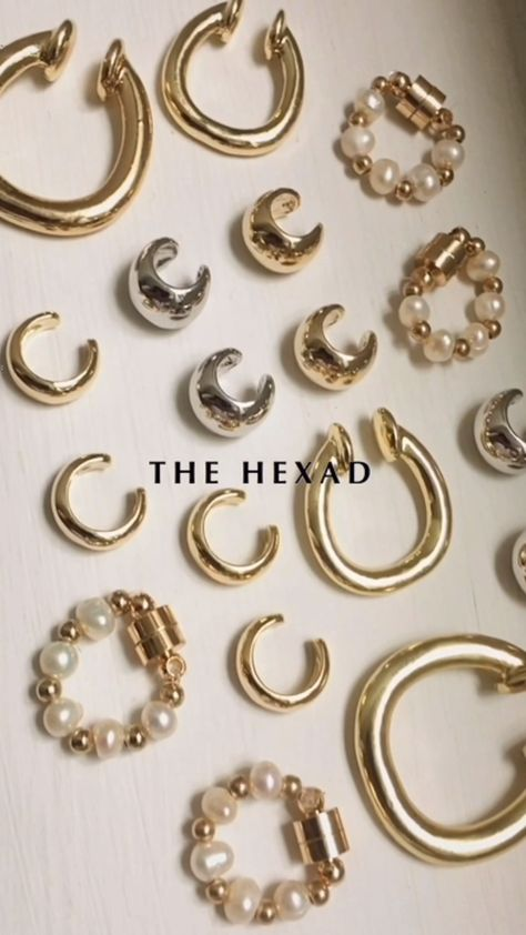 absolutely no piercings needed 💛ear cuffs for the lobes, conch and helix. see all designs at www.thehexad.com