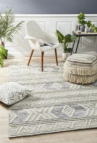Grey Ivory Aztec Shaggy RugSmall Large Living Room RugsTribal Hall Runner