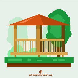 Publicdomainvectors Org Wooden Pavilion Wooden Pavilion Free Clip Art Pavilion