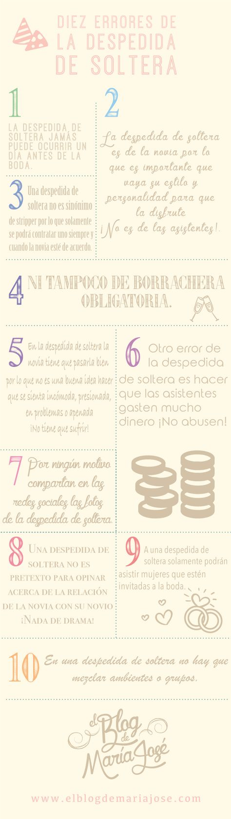 Diez errores de la despedida de soltera #bodas #ElBlogdeMaríaJosé #Despedidasoltera #infografía