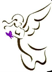 Digital Giggle Embroidery Design: Angel Outline 3.64 inches H x 2.87 inches W