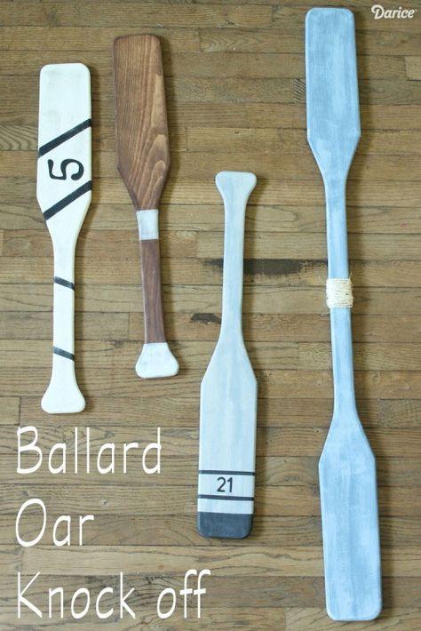 Ballard Designs Wooden Oars Knock Off. Painted oar inspiration on Completely Coastal: http://www.completely-coastal.com/2011/03/painted-oars-diy-or-buy.html