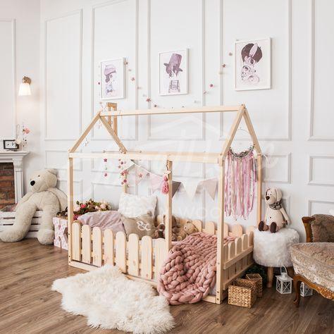 Teepee Toddler House Bed Montessori Floor Bed Kid Bed Wood Bed Children Home Children Bed Kids Bedroom Floor