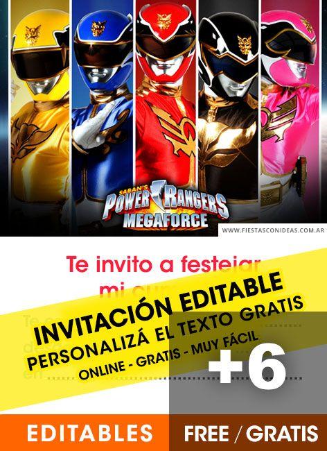 6 Invitaciones De Power Rangers Gratis Free Para Editar