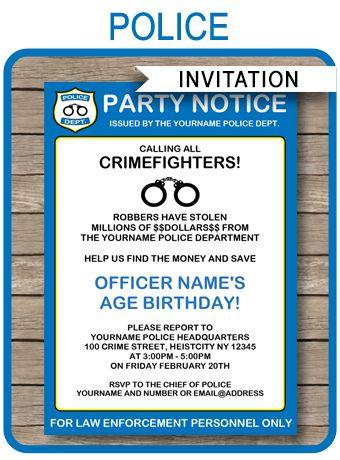 Policeman Birthday Party Ideas Fiestas de cumpleaños, De - crime report template