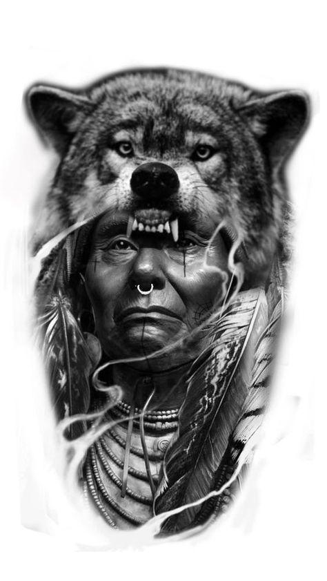 38 Ideas Tattoo Sleeve Tribal Native American Native American Wolf Tattoo Native American Tattoos Native American Tattoo Designs