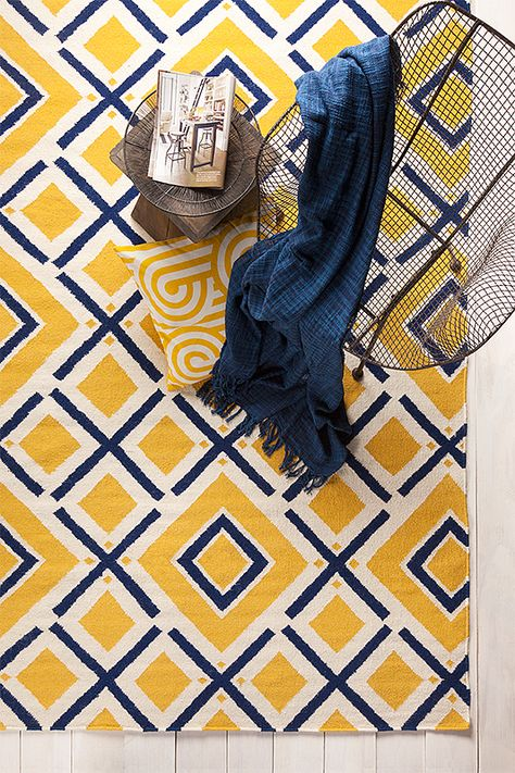 Yellow And Blue Flat Weave Rug From Surya Rugs Rugs Fabric Rug