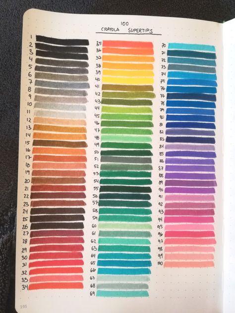 Swatches 2 Swipes Of The Color Of All 100 Of The Crayola Supertips The Image Seem Libreta De Apuntes Titulos Bonitos Para Apuntes Plumones Crayola