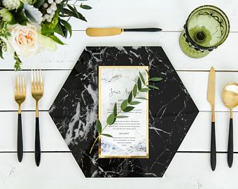 Marble Hexagon Charger Plates Placemats Black White Charger Plates Wedding Charger Plates Black Charger Plates