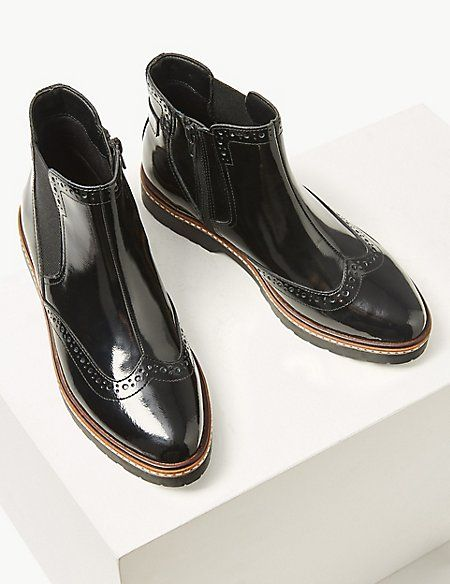 Wide Fit Leather Chelsea Brogue Boots