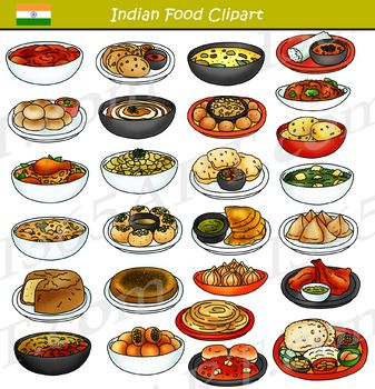Indian Food Clipart Bundle In 2020 Food Clipart Indian Food