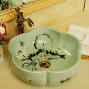 Procelain Europe Vintage Style Art Wash Basin Ceramic Counter Top Wash Basin Bathroom Sinks Art Sink Antique Green Lotus Pattern In 2020 Wash Basin Vintage Style Art Basin