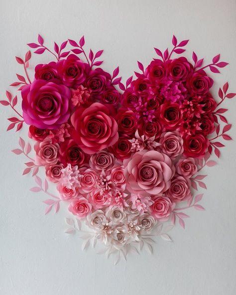 Paper Flowers Heart Wall Art Valentine's Paper Flower | Etsy