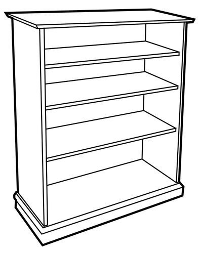 Vector Illustration Of Bookshelf Without Books Free Svg Bookcase White Bookcase Wooden Bookcase