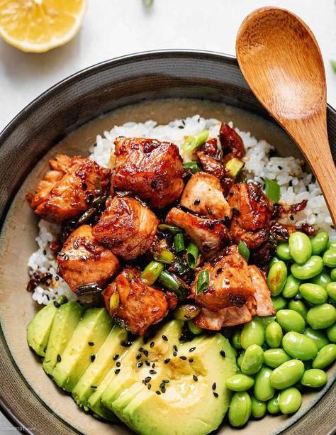 Teriyaki Salmon Bowl Recipe - #salmon #teriyaki #recipe #eatwell101 - This Teriyaki Salmon Sushi Bowl is packed full of flavor and super easy to make at home! - #recipe by #eatwell101