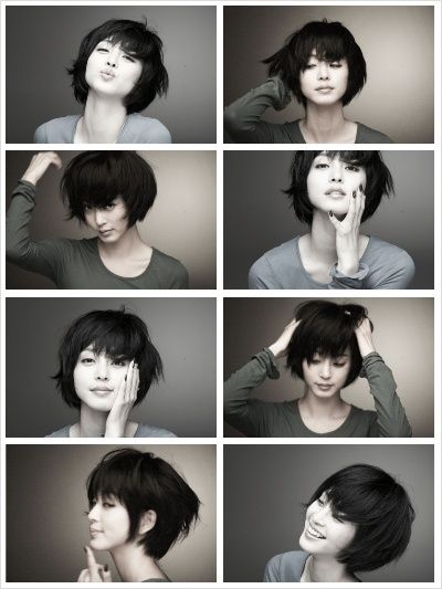 This is such a cute style when growing out a pixie cut!