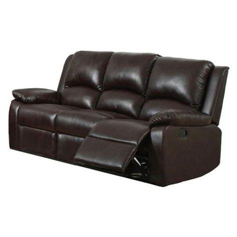 Furniture Of America Oxford Rustic Dark Brown Faux Leather Sofa Cm6555 Sf In 2020 Faux Leather Sofa Sofa Leather Sofa
