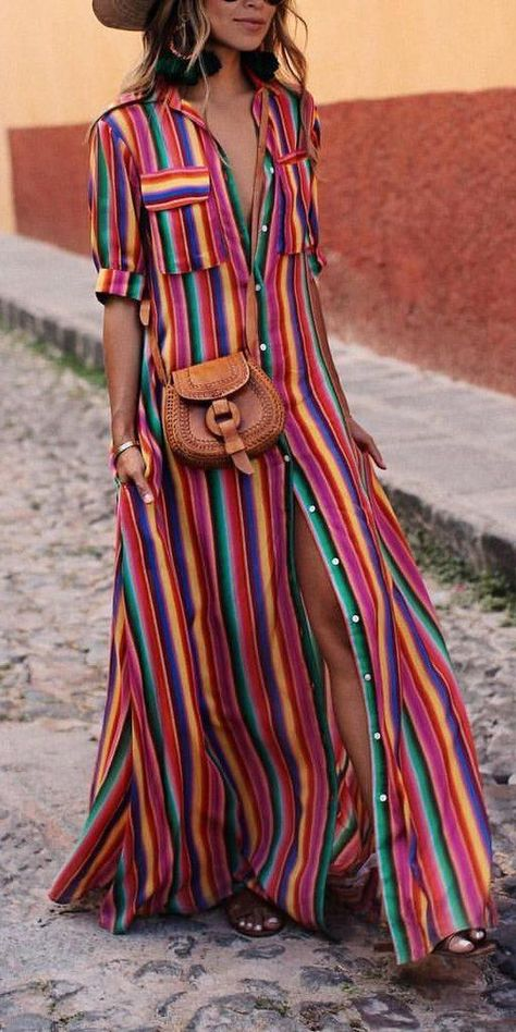 BOHO Button Down Collar Stripes Roll Up Sleeve Maxi Vacation Dresses modest maxi dress modest dress modest maxi dress formal maxi dress summer maxi dress modesty maxi dress casual boho maxi dress maxi dress outfit