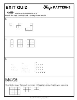 Geometric Patterns Lesson 4th Grade Shape Patterns Lesson Packet