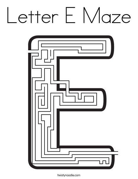 Letter E Maze Coloring Page Twisty Noodle Lettering Coloring Pages Letter E