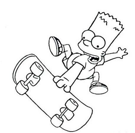 Simpson Doing Skateboard Coloring Pages Simpsons Drawings Skateboarder Drawing Bart Simpson Art