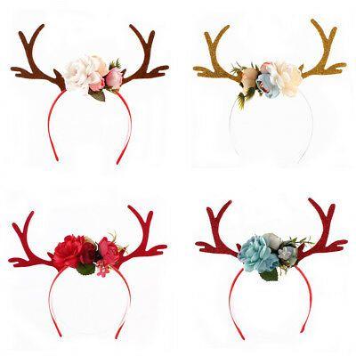 Style 2 Christmas Holiday Antler Reindeer Floral Baby Girls Headband Pink