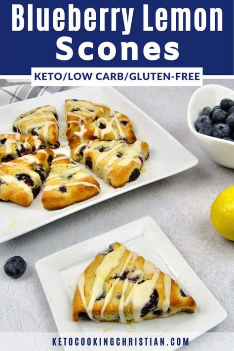 Keto Blueberry Lemon Scones - Low Carb/Gluten-Free These Keto Blueberry Lemon Scones are such a quick and easy treat to make! They are perfect to serve with a cup of coffee or tea for breakfast or brunch. #ketoscones #easyketoscones #ketoblueberryscones #lowcarbscones