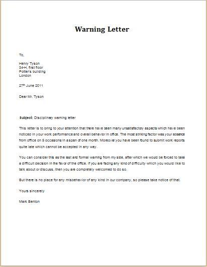 Discipline Violation Warning Letter Download At Httpwww With Regard To Sample Warning Letter Lettering Download Lettering Letter Templates
