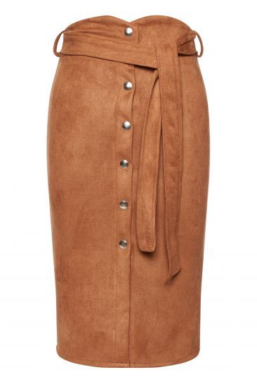 7c3740572ca416 Jupe longue en daim boutonnée - marron clair | Vêtements | Jupe ...
