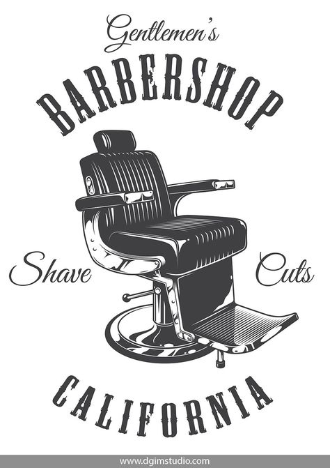 Monochrome barbershop chair print on white background. Old school style. Click to the link to find more barbershop elements, badges, emblems and designs. #vectorillustration#vector#illustration#design#dgimstudio #barber #barbershop #hairdresser #chair #barbershopchair