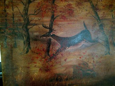 VINTAGE OIL ON Canvas Painting Deer in the Woods in Fall STUNNING