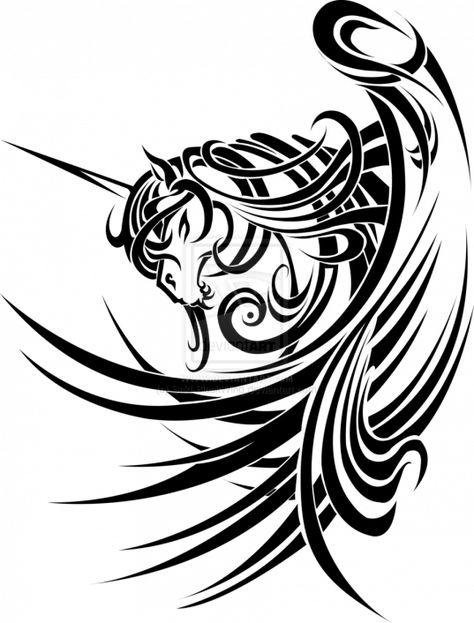 4883aec6b Tribal unicorn by Saki-BlackWing.deviantart.com on @deviantART  #maoritattoos #