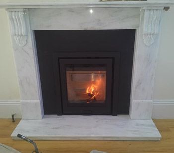 Di Luso R5 Inset Woodburner With Three Sided Frame In Black From Hunter Stoves Along With Honed B Wood Burning Stove Fireplace Design Modern Stoves