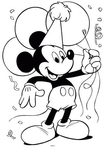 Mickey Mouse With Balloons Coloring Page From Mickey Mouse Category Select Fro Mickey Mouse Coloring Pages Mickey Coloring Pages Happy Birthday Coloring Pages
