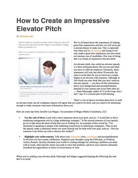 How to Create an Impressive Elevator Pitch Part One MMC in the - elevator speech examples
