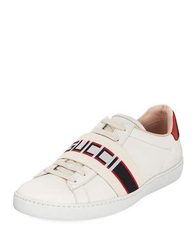 1c13b49f239 Gucci Ace Logo-Band Leather Low-Top Sneakers